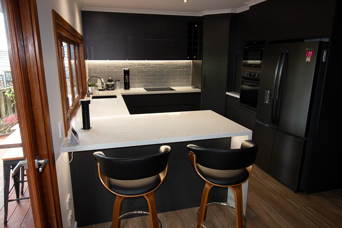 black kitchen builder renovation gold coast