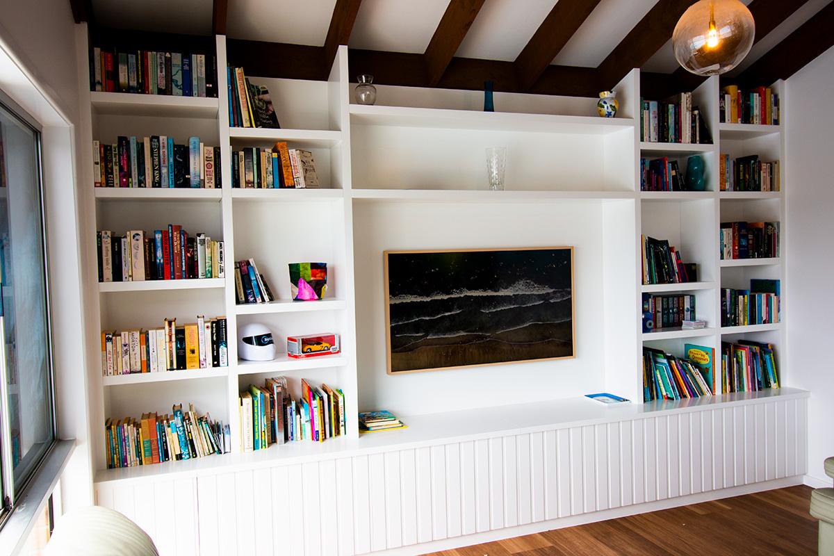 hidden TV painting unit book shelf builder gold coast