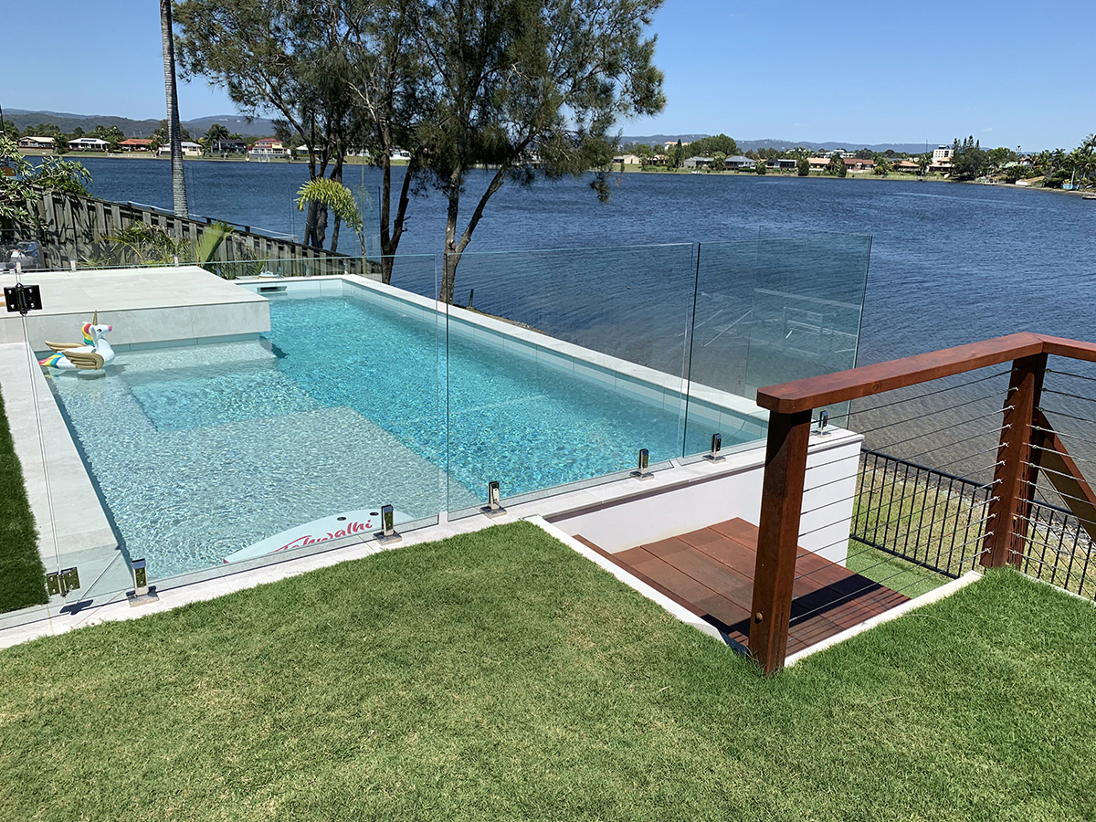 Waterfront pool and landscaping entertainment area builder gold coast