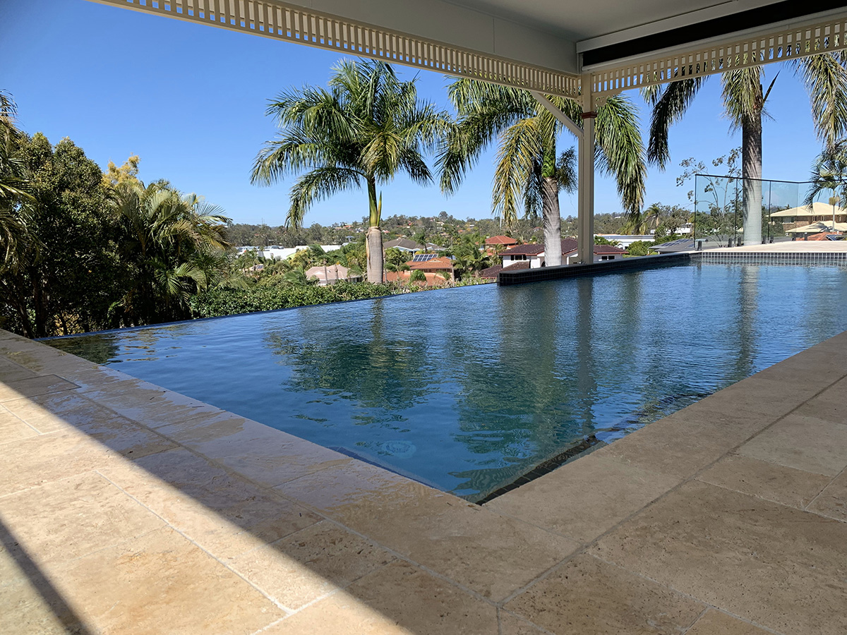 infinity pool and tile surround builder gold coast